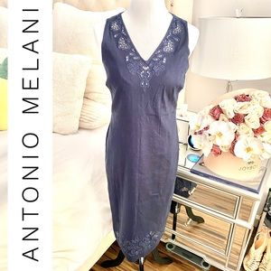 Antonio Melani V-Neck Denim Midi Dress 👗